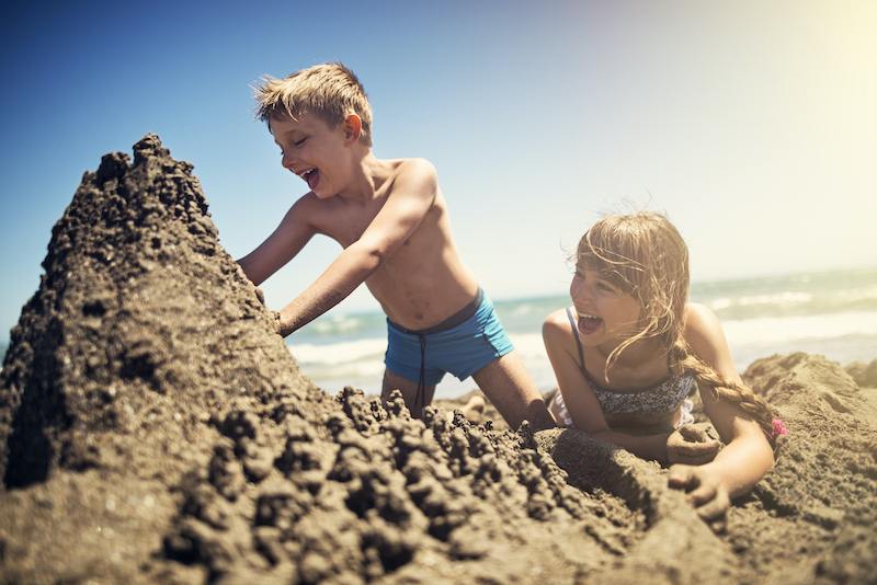 Children enjoy a day playing on a South Carolina beach