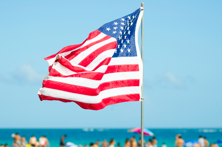 People celebrate Memorial Day on the beach